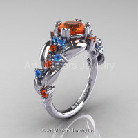 Nature Classic 14K White Gold 1.0 Ct Orange Sapphire Blue Topaz Leaf and Vine Engagement Ring R340-14KWGBTOS-1
