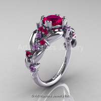 Nature Classic 14K White Gold 1.0 Ct Rose Ruby Lilac Amethyst Leaf and Vine Engagement Ring R340-14KWGLAMRR-1