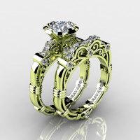 Art Masters Caravaggio 18K Green Gold 1.0 Ct White Sapphire Diamond Engagement Ring Wedding Band Set R623S-18KGGDWS-1