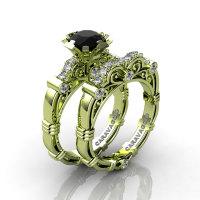 Art Masters Caravaggio 18K Green Gold 1.0 Ct Black and White Diamond Engagement Ring Wedding Band Set R623S-18KGGDBD-1
