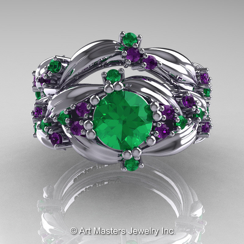 00acaa61a38 Nature Classic 14K White Gold 1.0 Ct Emerald Amethyst Leaf and Vine  Engagement Ring Wedding Band ...