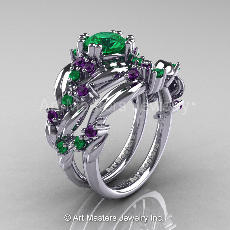 77c93a4d5c2 Nature Classic 14K White Gold 1.0 Ct Emerald Amethyst Leaf and Vine  Engagement Ring Wedding Band