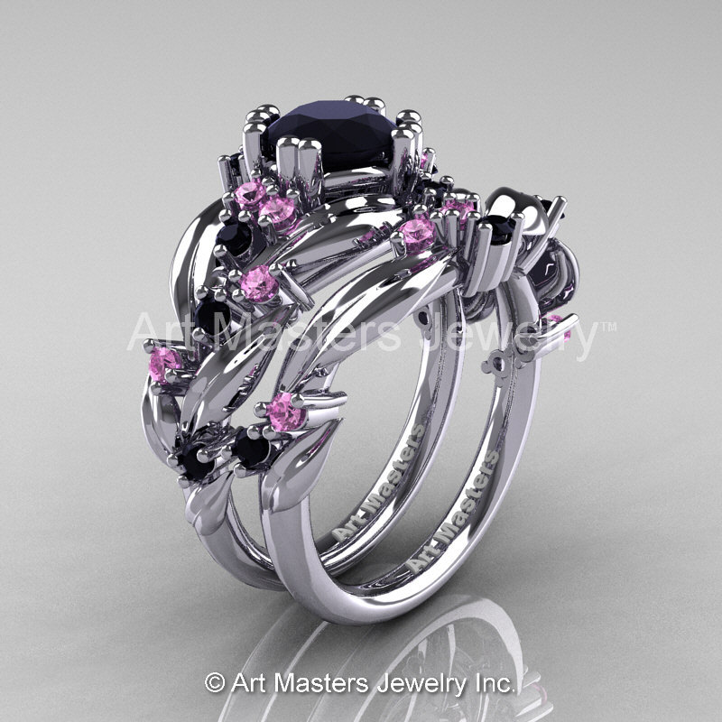 black wedding rings with pink diamonds nature classic 14k white gold 1 0 ct black light 1890