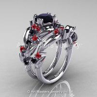 Nature Classic 14K White Gold 1.0 Ct Black Diamond Rubies Leaf and Vine Engagement Ring Wedding Band Set R340S-14KWGRBD-1