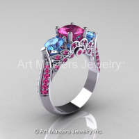 Classic 10K White Gold Three Stone Blue Topaz Pink Sapphire Solitaire Ring R200-10KWGBTPS-1