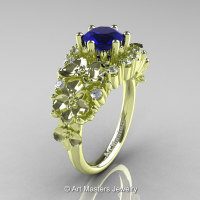 Nature Classic 18K Green Gold 1.0 Ct Blue Sapphire Diamond Orchid Engagement Ring R604-18KGGDBS-1