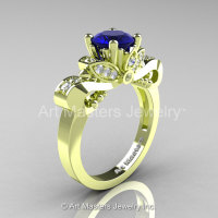 Classic 18K Green Gold 1.0 Ct Blue Sapphire Diamond Solitaire Engagement Ring R323-18KGGDBS-1