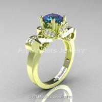 Classic 18K Green Gold 2.0 Ct Alexandrite Diamond Solitaire Engagement Ring R323-18KGGDAL-1