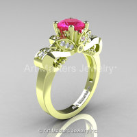 Classic 18K Green Gold 1.0 Ct Pink Sapphire Diamond Solitaire Engagement Ring R323-18KGGDPS-1