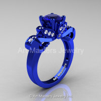 Classic 14K Blue Gold 1.0 Ct Blue Sapphire Diamond Solitaire Engagement Ring R323-14KBLGDBS-1