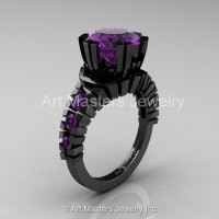 Modern 14K Black Gold 3.0 Ct Amethyst Solitaire Wedding Anniversary Ring R325-14KBGAM-1