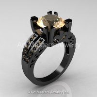 Modern Vintage 14K Black Gold 3.0 Carat Champagne Diamond Solitaire Ring R102-14KBGCHD-1