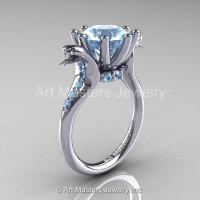 Art Masters Cobra 14K White Gold 3.0 Ct Aquamarine Engagement Ring R602-14KWGAQ-1