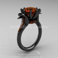 Art Masters Cobra 14K Black Gold 3.0 Ct Brown Diamond Engagement Ring R602-14KBGBRD-1