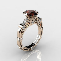 Art Masters Caravaggio 14K Rose Gold Gold 1.0 Ct Brown and White Diamond Engagement Ring R623-14KRGDBRD-1