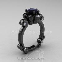 Art Masters Caravaggio 14K Black Gold 1.0 Ct Black and White Diamond Engagement Ring R606-14KBGDBD-1