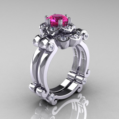 Art Masters Caravaggio 14K White Gold 1.0 Ct Pink Sapphire Diamond Engagement Ring Wedding Band Set R606S-14KWGDPS-1