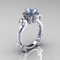Art Masters Caravaggio 14K White Gold 1.0 Ct Aquamarine Diamond Engagement Ring R606-14KWGDAQ-1