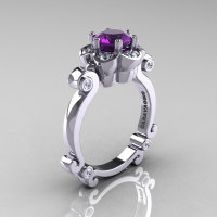 Art Masters Caravaggio 14K White Gold 1.0 Ct Amethyst Diamond Engagement Ring R606-14KWGDAM-1