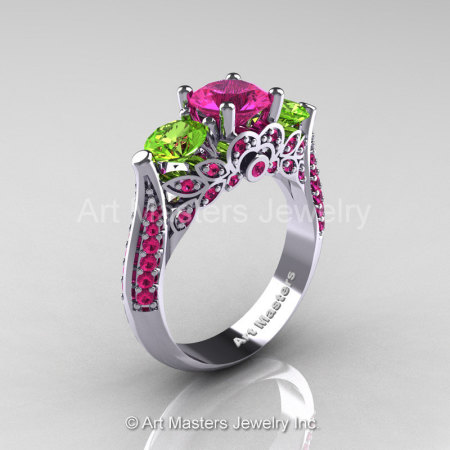 Art Masters Classic 14K White Gold Three Stone Pink Sapphire Peridot Solitaire Ring R200-14KWGPEPS-1