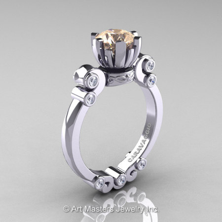 Caravaggio 14K White Gold 1.0 Ct Champagne and White Diamond Solitaire Engagement Ring R607-14KWGDCHD-1