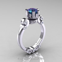 Caravaggio 14K White Gold 1.0 Ct Alexandrite Diamond Solitaire Engagement Ring R607-14KWGDAL-1