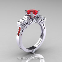 Classic Armenian 950 Platinum 1.0 Ct Princess Rubies Diamond Solitaire Wedding Ring R608-PLATDR-1