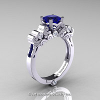 Classic Armenian 14K White Gold 1.0 Ct Princess Blue Sapphire Diamond Solitaire Wedding Ring R608-14KWGDBS-1