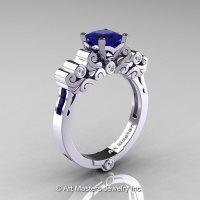 Classic Armenian 14K White Gold 1.0 Ct Princess Blue Sapphire Diamond Solitaire Wedding Ring R608-14KWGDBS-1