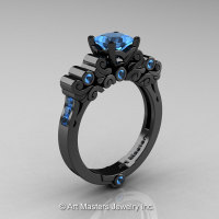 Classic Armenian 14K Black Gold 1.0 Ct Princess Swiss Blue Topaz Solitaire Wedding Ring R608-14KBGBT-1