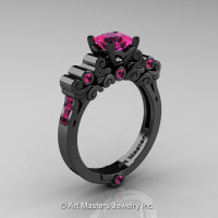 Classic Armenian 14K Black Gold 1.0 Ct Princess Pink Sapphire Solitaire Wedding Ring R608-14KBGPS-1