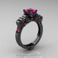 Classic Armenian 14K Black Gold 1.0 Ct Princess Pink Sapphire Solitaire Wedding Ring R608-14KBGPS-1