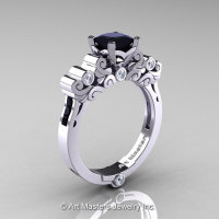 Classic Armenian 14K White Gold 1.0 Ct Princess Black and White Diamond Solitaire Wedding Ring R608-14KWGDBD-1