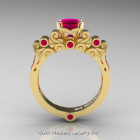 Classic Armenian 18K Yellow Gold 1.0 Ct Princess Rose Rubies Solitaire Wedding Ring R608-18KYGRR-1