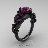Nature Classic 14K Black Gold 1.0 Ct Pink Sapphire Amethyst Leaf and Vine Engagement Ring R340S-14KBGAMPS Perspective