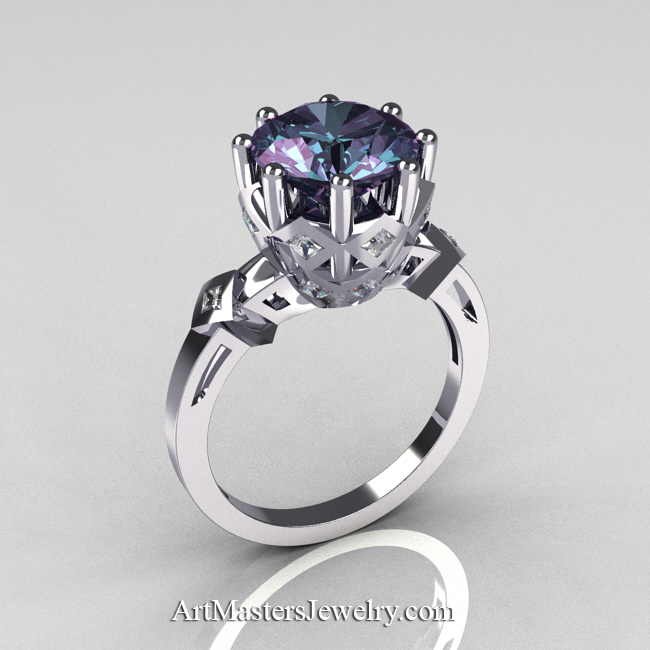 classic tatyana 14k white gold 30 ct russian alexandrite princess cz solitaire wedding ring r303 - Alexandrite Wedding Ring