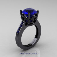 Classic 14K Black Gold 3.0 Carat Blue Sapphire Solitaire Wedding Ring R301-14KBGBS