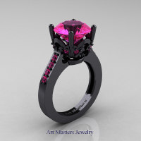 Classic 14K Black Gold 3.0 Carat Pink Sapphire Solitaire Wedding Ring R301-14KBGPS by Art Masters Jewelry