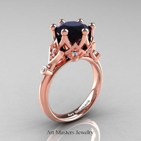 Modern-Antique-14K-Rose-Gold-3-Carat-Black-White-Diamond-Solitaire-Wedding-Ring-R514-14KRGDBD-P