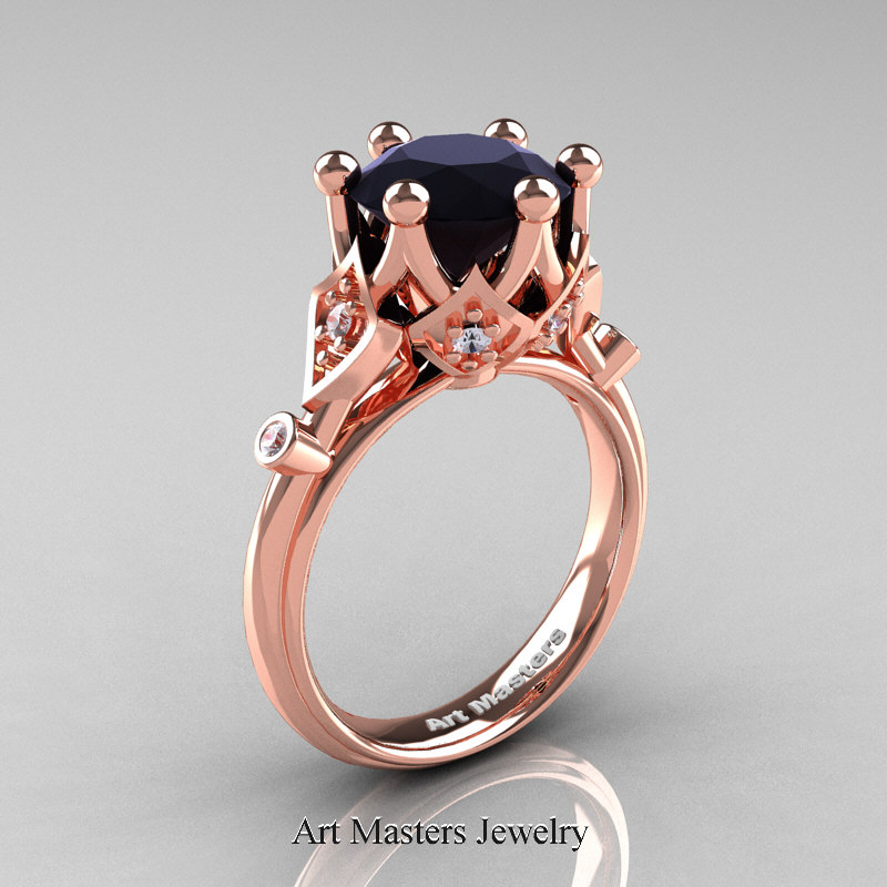 Modern Antique 14k Rose Gold 3 Carat Black