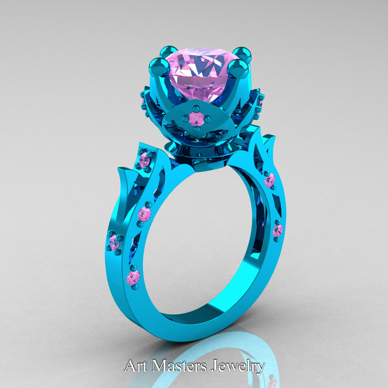 Modern Antique 14K Turquoise Gold 30 Carat Light Pink Sapphire