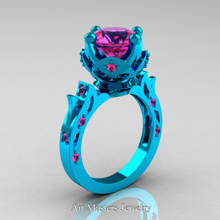 Modern-Antique-14K-Turquise-Gold-Pink-Sapphire-Solitaire-Wedding-Ring-R214-14KTGPS-P