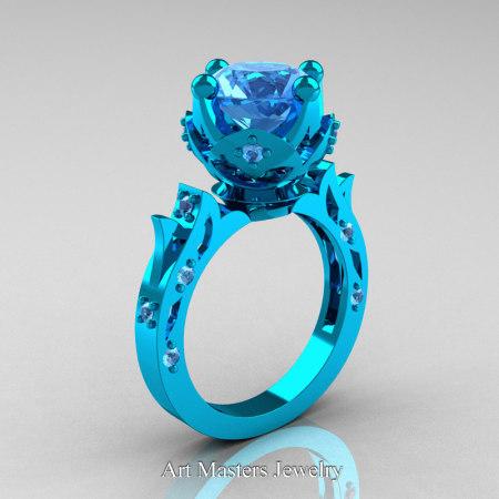 Modern-Antique-14K-Turquise-Gold-White-Blue-Topaz-Solitaire-Wedding-Ring-Bridal-Set-R214S-14KTGBT-P