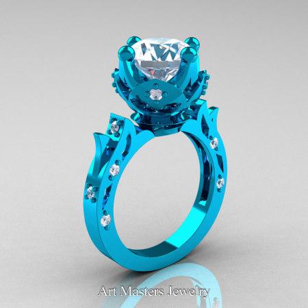 Modern-Antique-14K-Turquise-Gold-White-Sapphire-Diamond-Solitaire-Wedding-Ring-R214-14KTGDWS-P