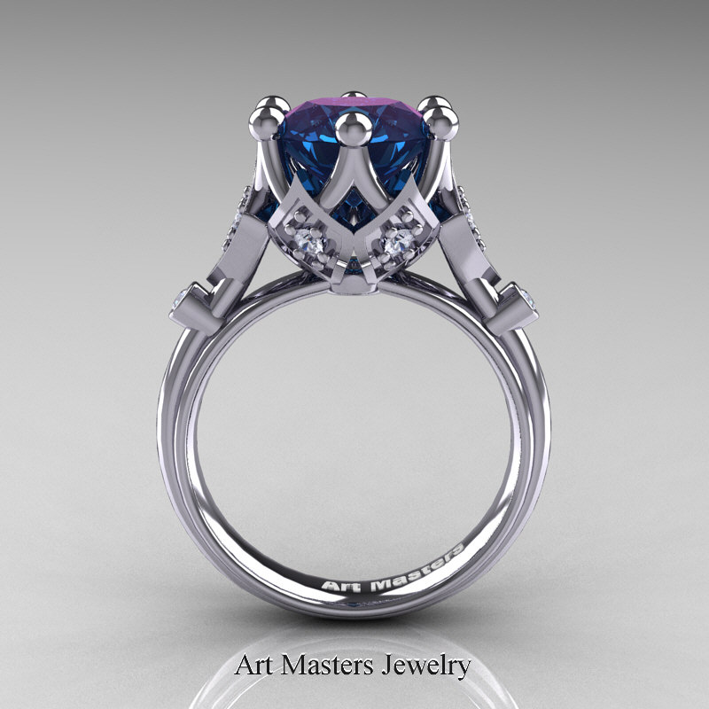 modern antique 14k white gold 3 carat alexandrite - Alexandrite Wedding Ring