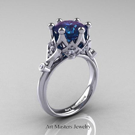 Modern-Antique-14K-White-Gold-3-Carat-Alexandrite-Diamond-Solitaire-Wedding-Ring-R514-14KWGDAL-P