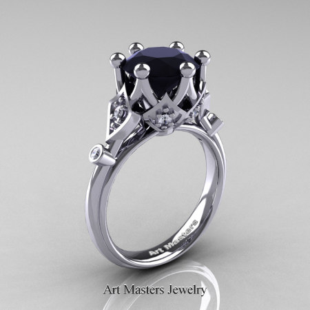 Modern-Antique-14K-White-Gold-3-Carat-Black-White-Diamond-Solitaire-Wedding-Ring-R514-14KWGDBD-P