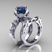 Modern Antique 14K White Gold 3.0 Carat Alexandrite Diamond Solitaire Wedding Ring Set R214S-14KWGDAL - Perspective