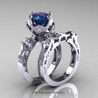 Modern Antique 14K White Gold 3.0 Carat Alexandrite Diamond Solitaire Wedding Ring Set R214S-14KWGDAL - Perspective