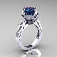 Modern Antique 14K White Gold 3.0 Carat Alexandrite Diamond Solitaire Wedding Ring R214-14KWGDAL - Perspective